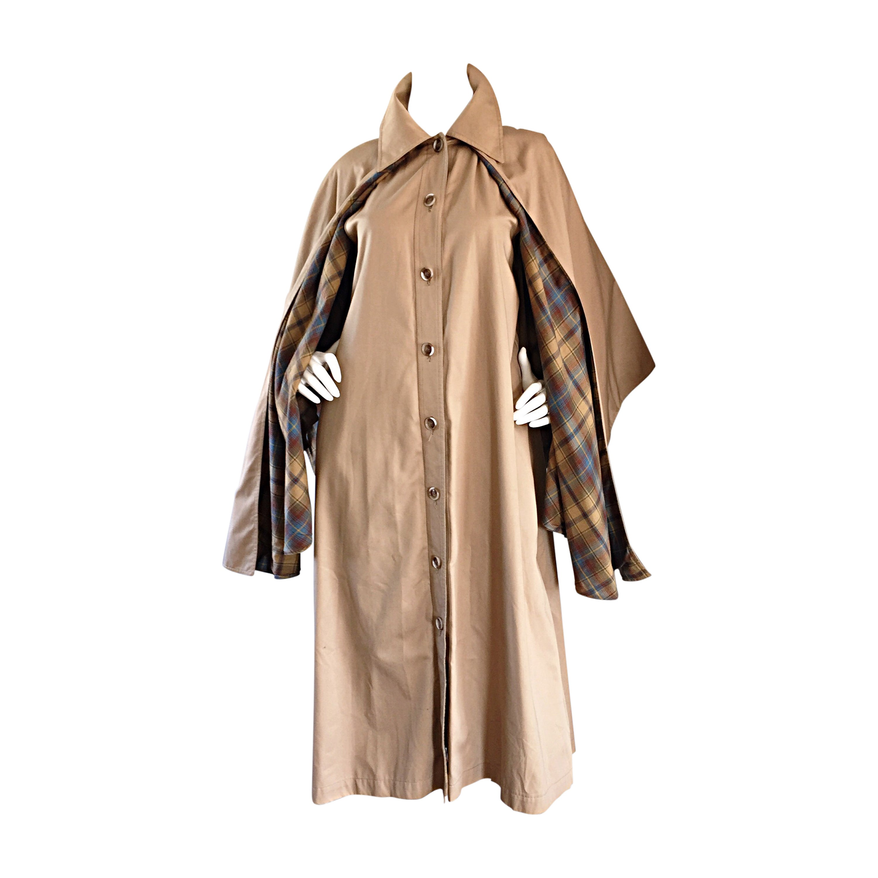 Vintage Yves Saint Laurent ' Rive Gauche ' 1970s Khaki Plaid Cape Trench Jacket