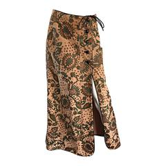 Rare Vintage Geoffrey Beene Bazaar Suede Leather Hand Painted Paisley Skirt