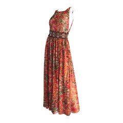Oscar de la Renta Beautiful Watercolor Bohemian Boho Maxi Dress w/ Wooden Beads