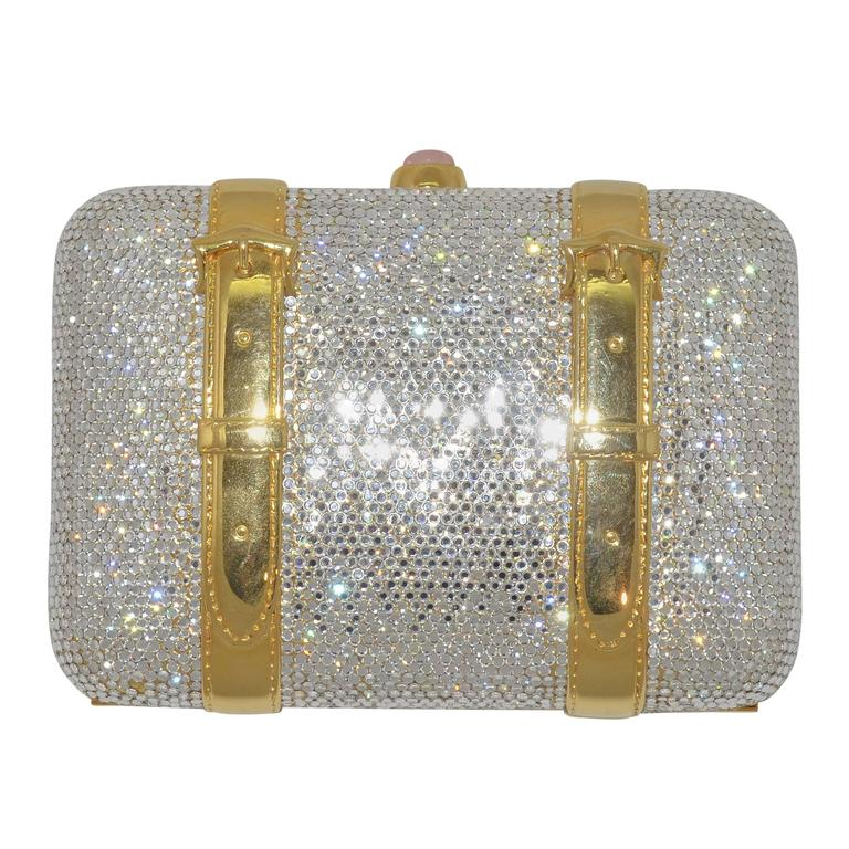 Judith Leiber Crystal Encrusted Minaudière Bag For Sale