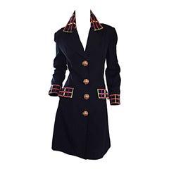 Vintage Kathryn Dianos Black Jacket Dress w/ Plaid Details + Dome Buttons