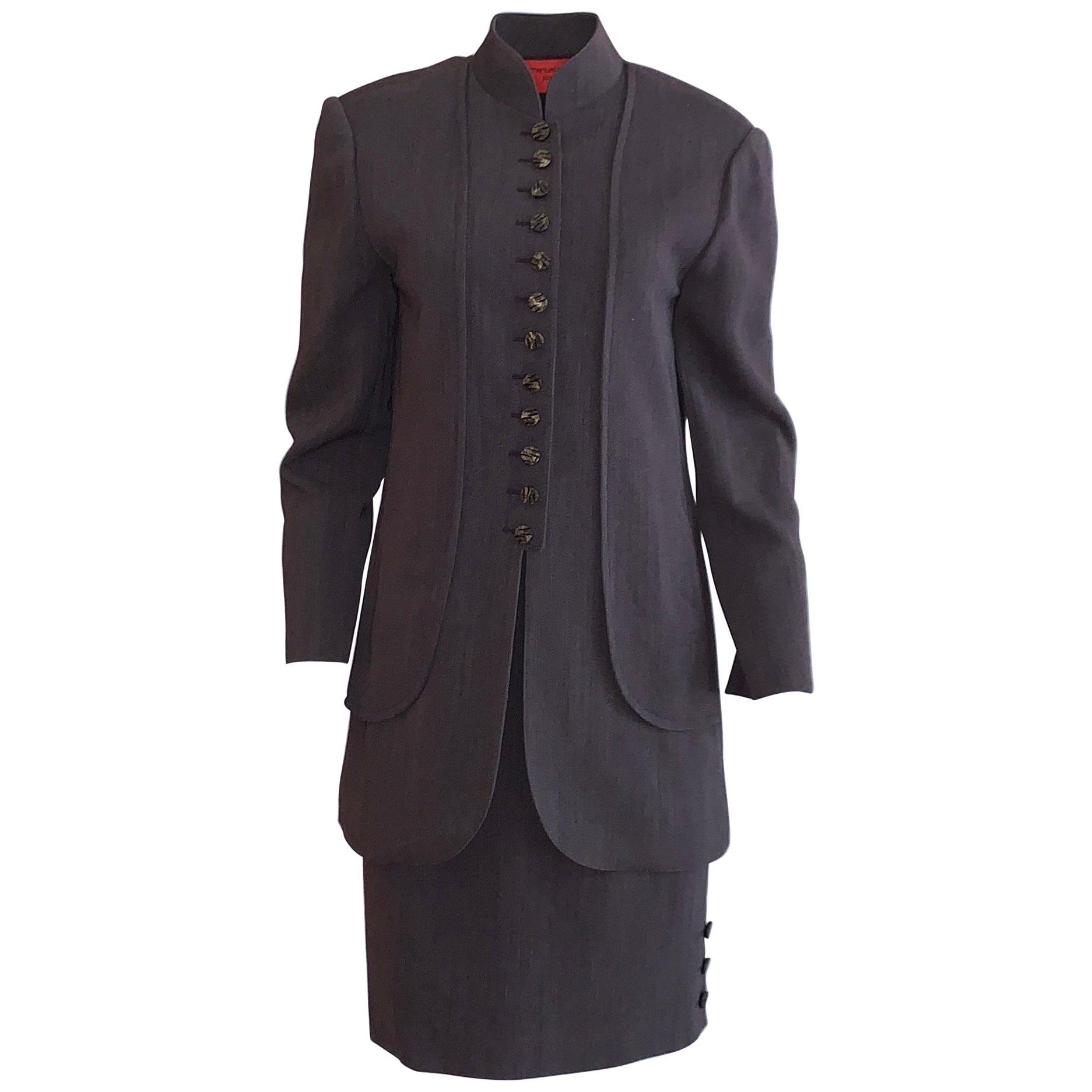 Emanuel Ungaro 1990s Brown Grey Skirt Suit with Long Jacket