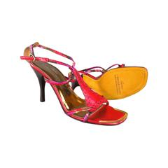 DONALD J PLINER Size 8 Metallic Red Leather Strappy Sandals