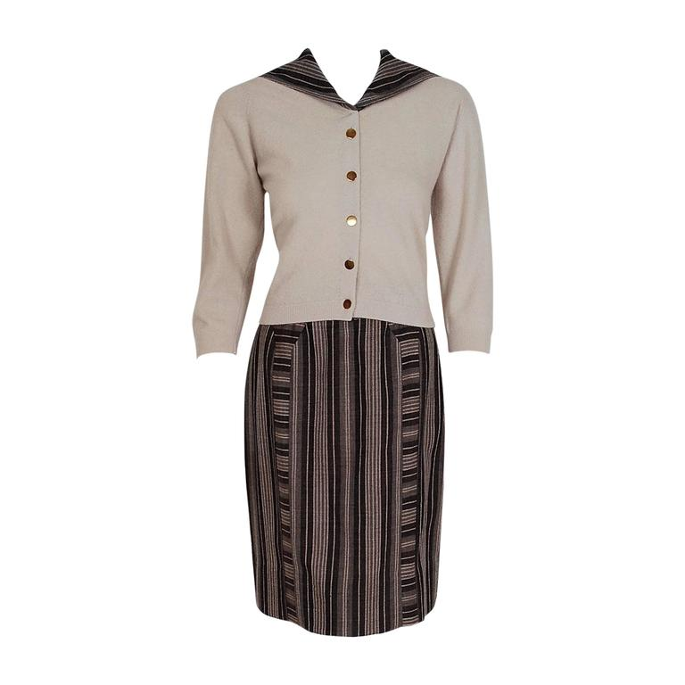 1950's Schiaparelli Beige Cashmere & Striped Wool Sailor-Flap Sweater Skirt Set For Sale