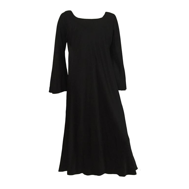 Pauline Trigere 80s Black Evening Dress Size 12 14 For Sale At