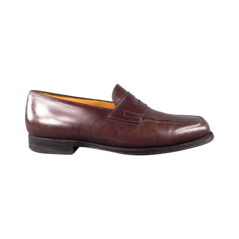 """JOHN LOBB """"LOPEZ"""" Size 7.5 Brown Leather Loafers 1"""