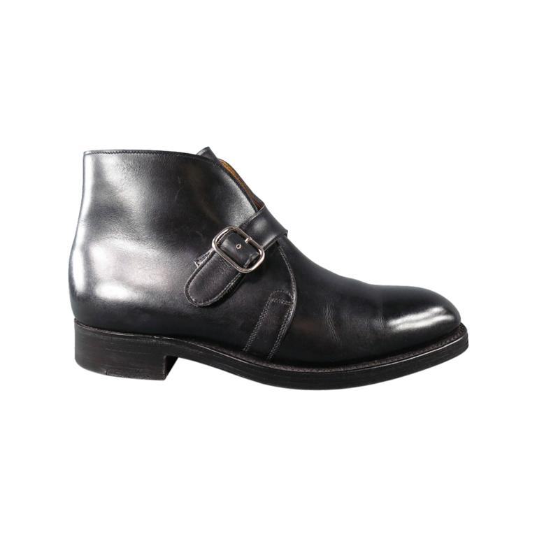 lobb quot varese quot size 7 5 black leather boots at 1stdibs