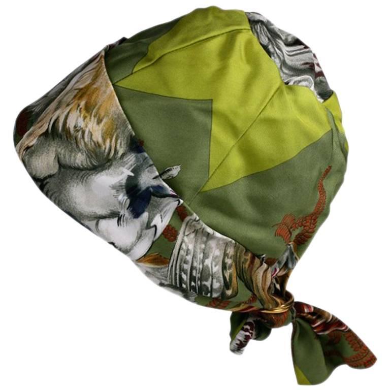 Hermes  Signature  Hunting Print Silk Twill Hat