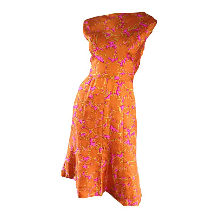 1960s Vintage Bright Orange + Hot Pink A Line Flower Psychedelic 60s Silk Dress 1