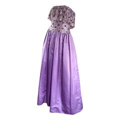 Alfred Bosand 1970s Vintage Purple / Lavender Sequin Silk + Lace 70s Gown
