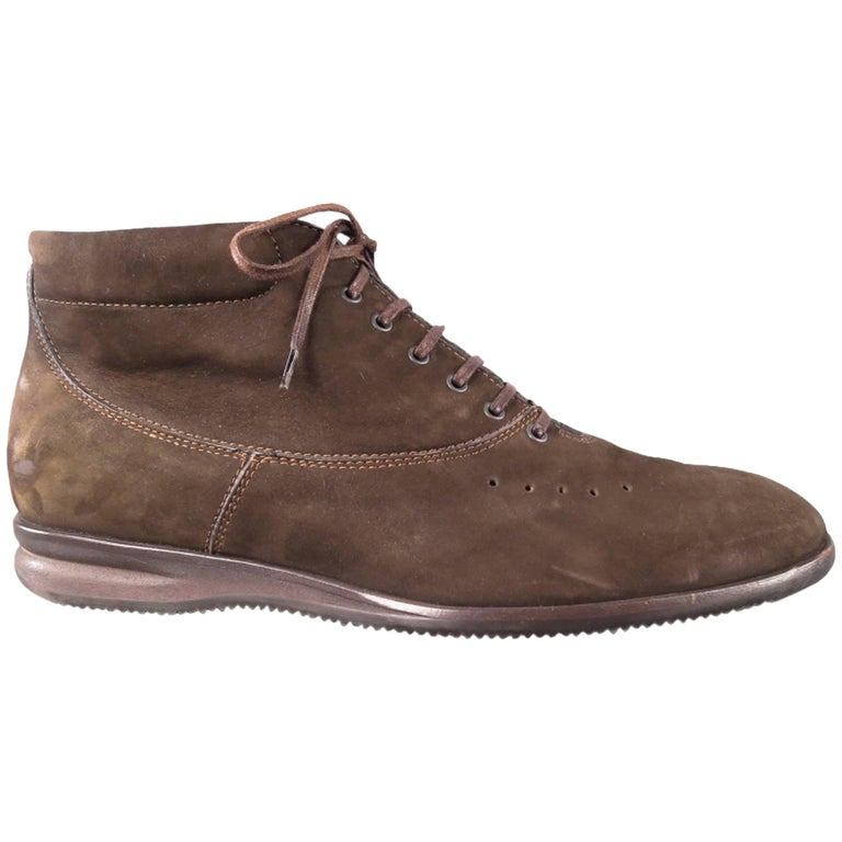 John Lobb Brown Nubuck Lace up Ankle Boots, Size 8