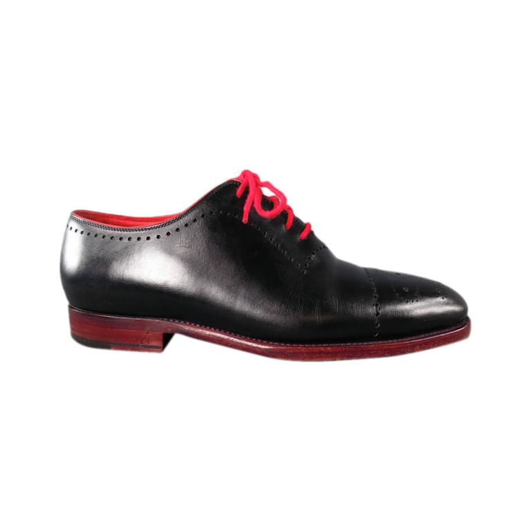 KITON Size 7.5 Men's Black & Red Leather Lace Up For Sale
