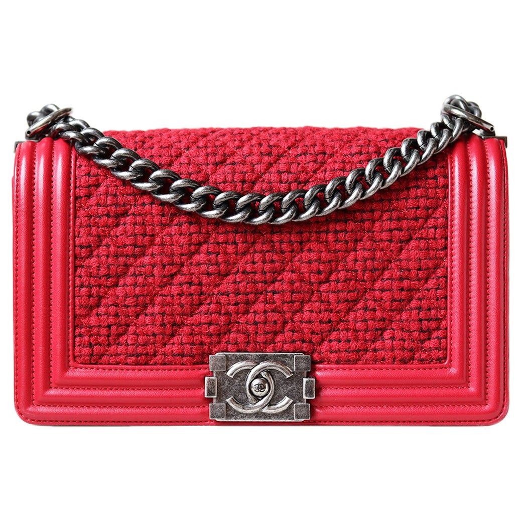 Chanel Leather and Tweed Boy Flap Bag