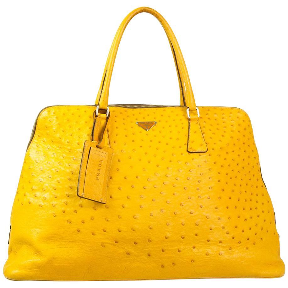 Prada Ochre Real Ostrich Bag