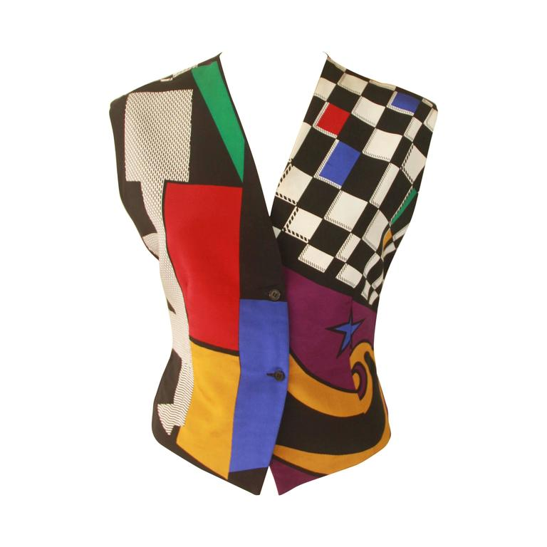 Gianni Versace Abstract Printed Silk Waistcoat Vest Fall ...