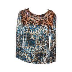 Chloe Ivory, Blue, & Gold Paisley Printed Silk Blouse w/ Rhinestone Trim - 42