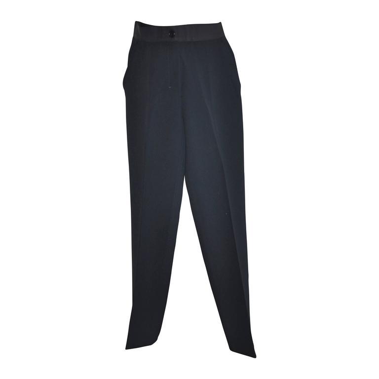 Prada Navy Medium-Weight Silk with Ribbon Waistband Trousers