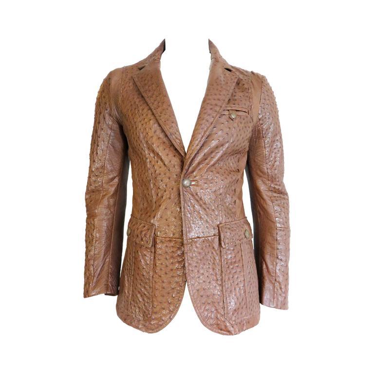 roberto cavalli mens cognac ostrich skin leather blazer