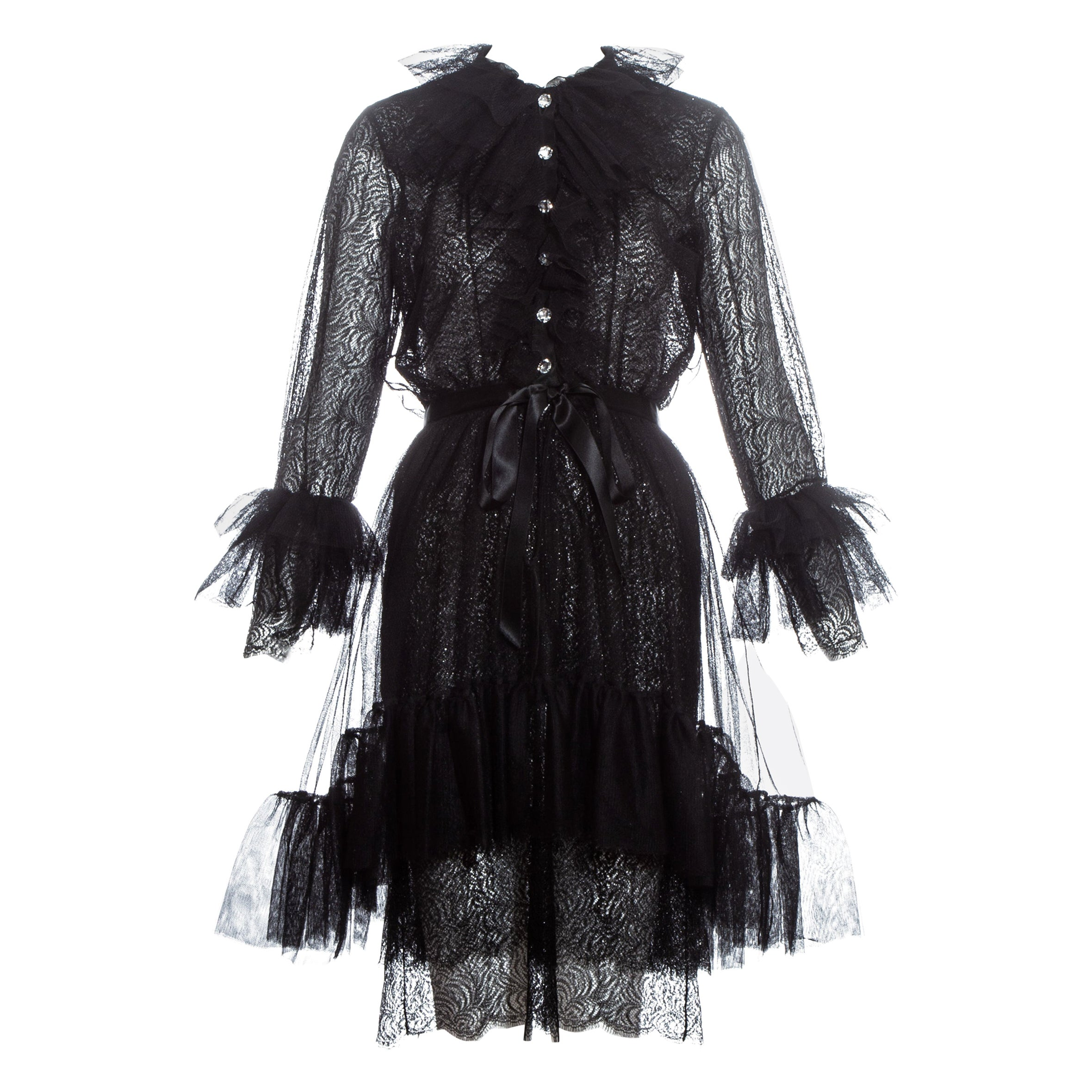 Yves Saint Laurent black lace and tulle crystal cocktail dress, fw 1993