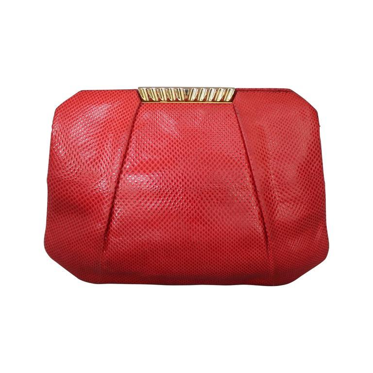 Judith Leiber 1970's Vintage Red Karung Snake Evening Bag