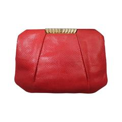 Judith Leiber 1970's Vintage Red Karung Snake Evening Bag
