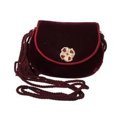 Judith Leiber 1990's Vintage Burgundy Velvet Small Evening Bag