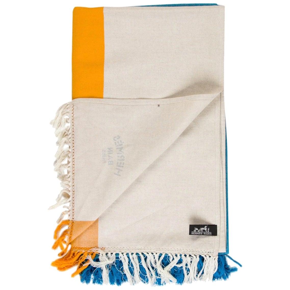 Hermes NEW Blue Yellow Ivory Stripe Beach Fringe Blanket Throw in Box