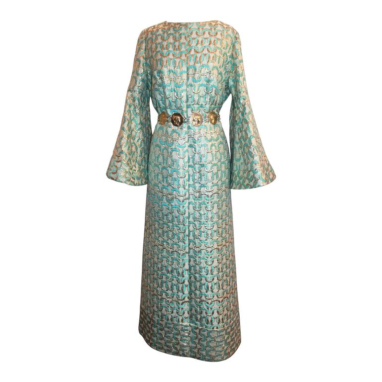 Sarmi 1960's Gold & Aqua Brocade Vintage Long Sleeve Gown - L For Sale