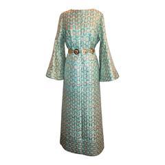 Sarmi 1960's Gold & Aqua Brocade Vintage Long Sleeve Gown - L