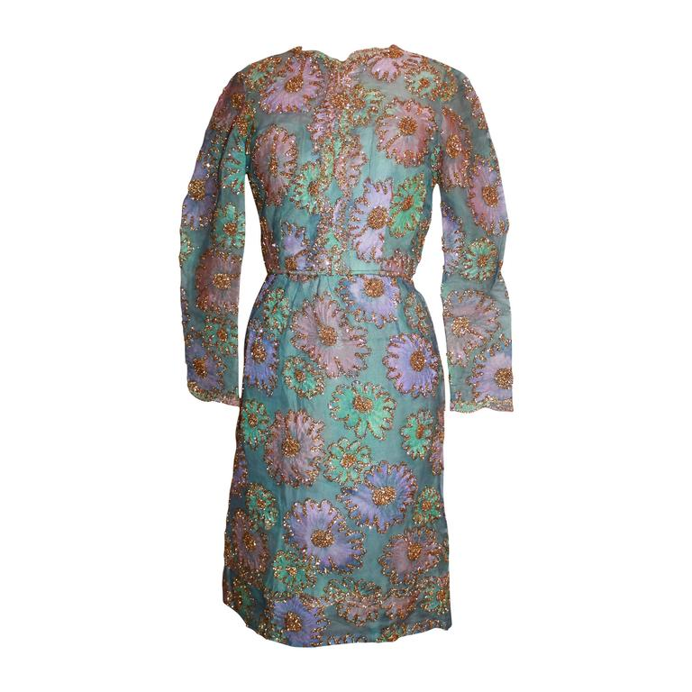 Sarmi 1960's Pastels Lace & Tinsel Long Sleeve Dress - M