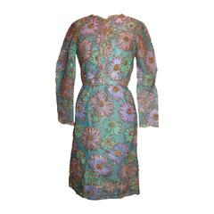 Sarmi 1960's Pastels Lace & Tinsel Long Sleeve Dress - M