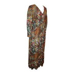 Adele Simpson 1950's Vintage Multi-Color Mod Brocade Long Sleeve Dress - 8