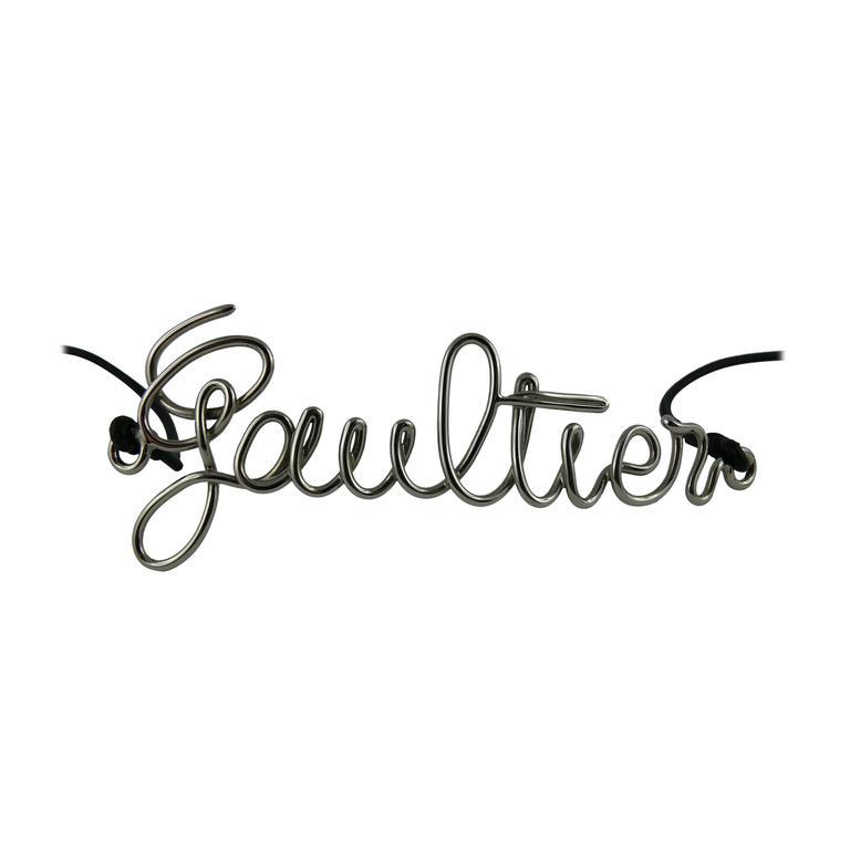 Jean Paul Gaultier Cursive Logo Metal Chrome Thin Belt