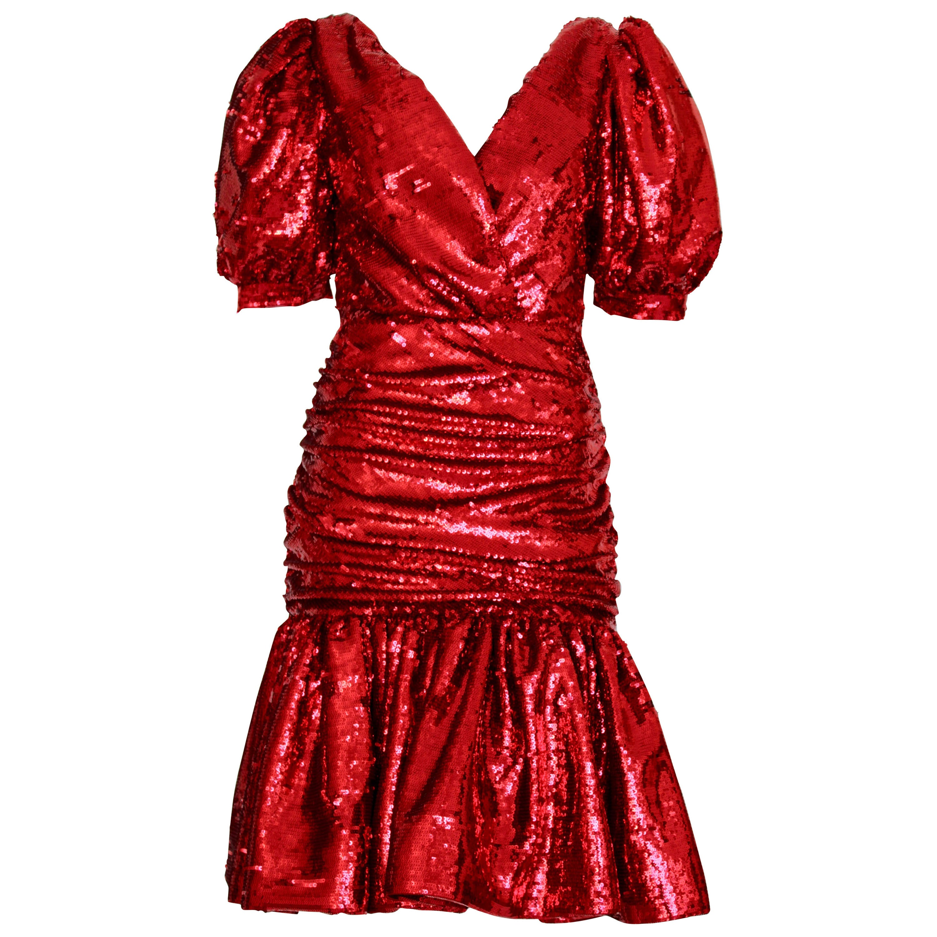 Rodarte Wrap-Effect Ruched Sequined Dress