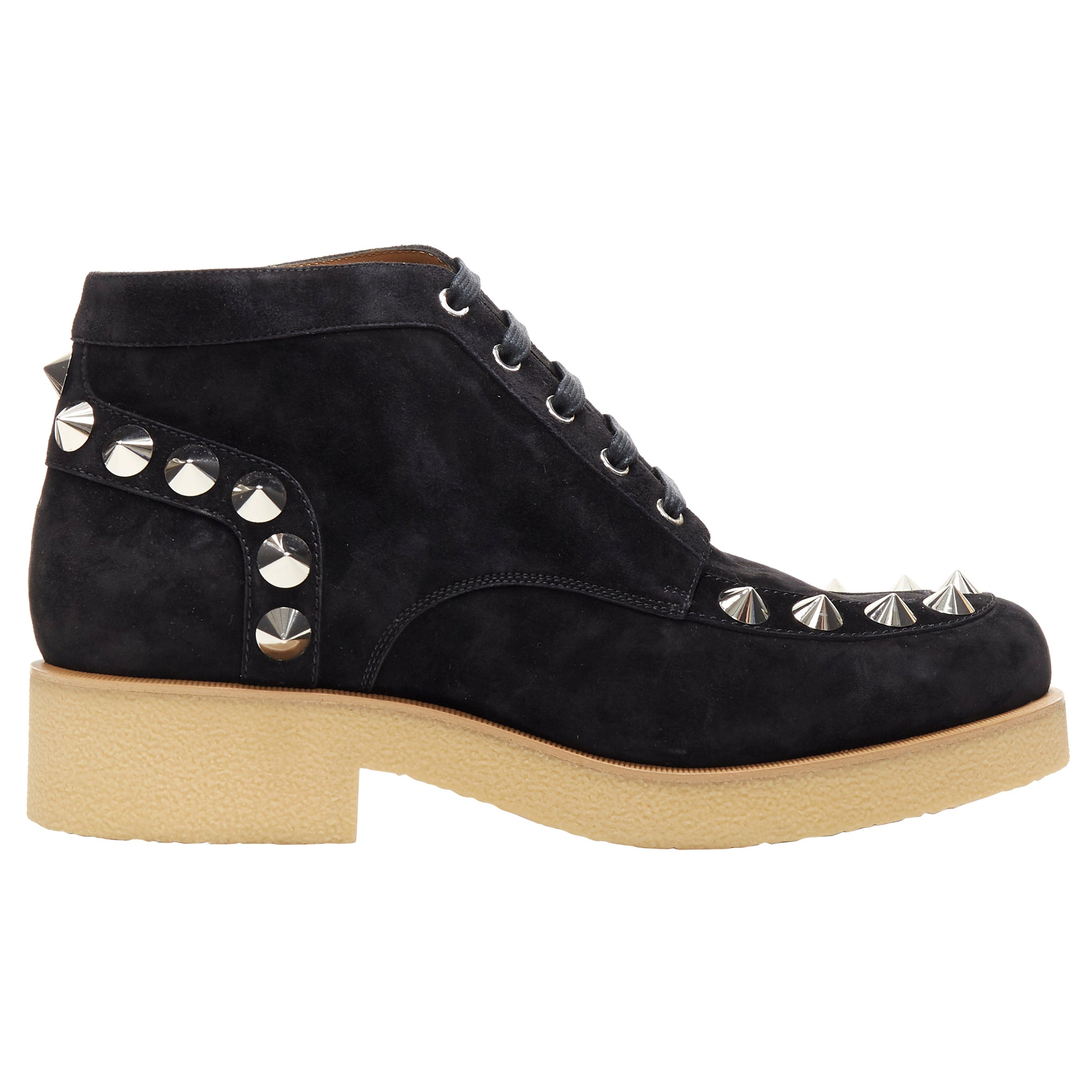 new CHRISTIAN LOUBOUTIN Yannick Flat black suede spike stud creeper boots EU44