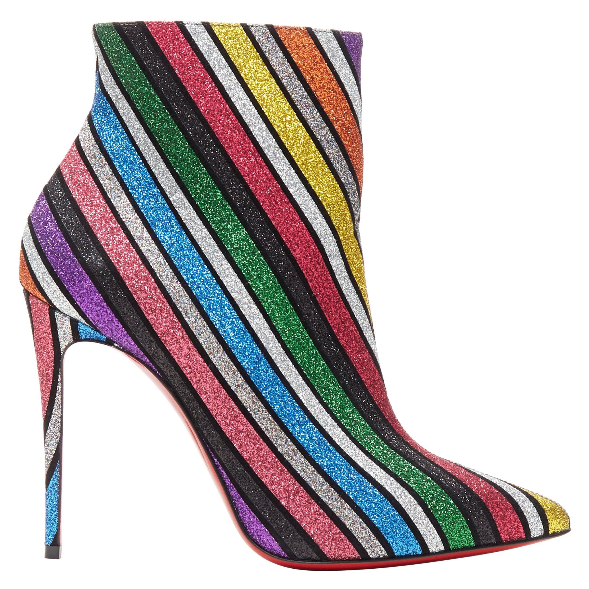 new CHRISTIAN LOUBOUTIN So Kate Booty 100 glitter multi stripe ankle boots EU36