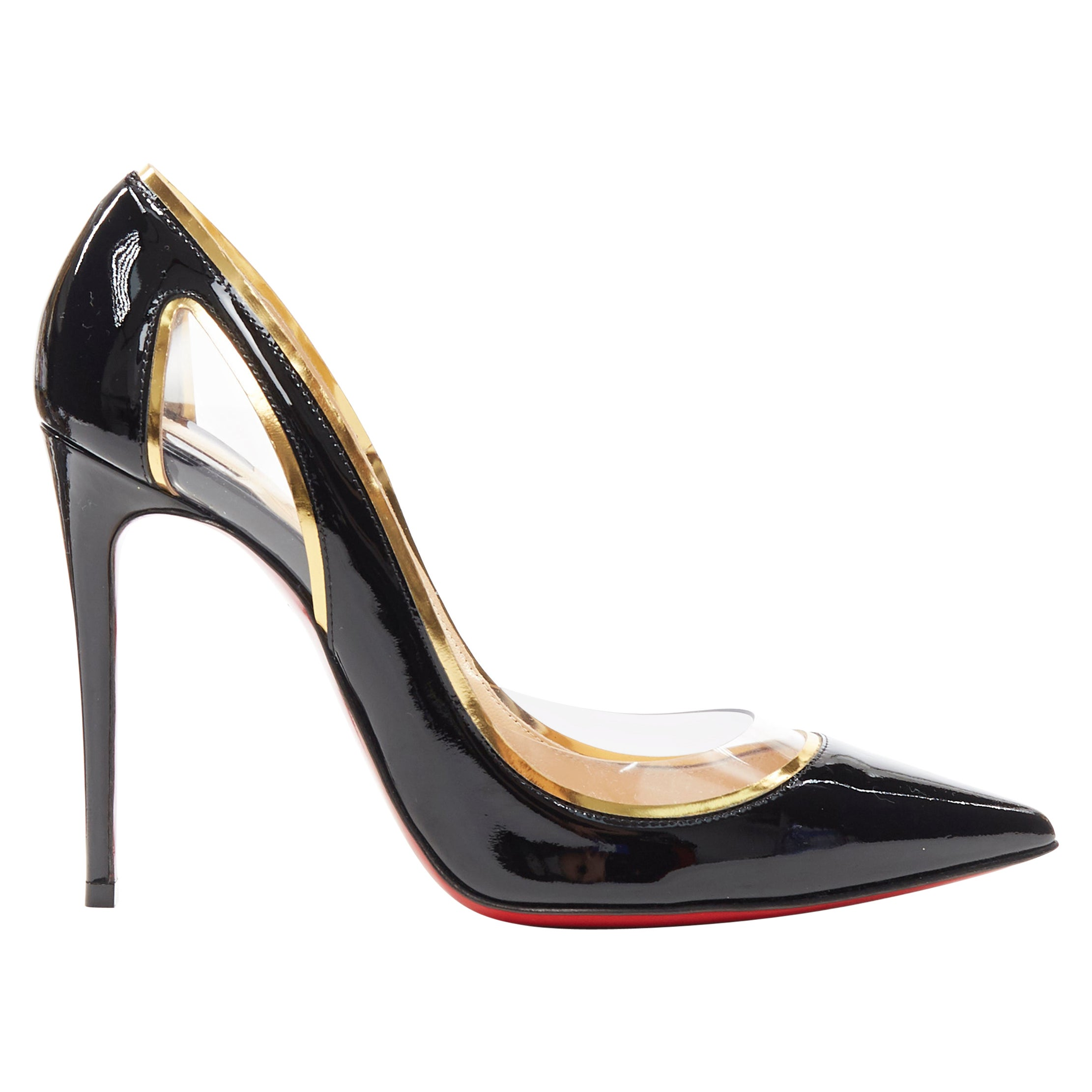 new CHRISTIAN LOUBOUTIN Cosmo 554 black patent PVC trimmed pigalle pump EU36.5