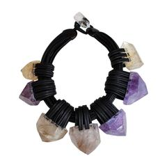 Monies Citrine, Amethyst, and Leather Necklace