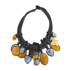 Monies Chalcedony, Amber, Agate, Bone, and Leather Necklace