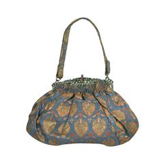 Art Deco Precious Stone Jeweled Lame Evening Bag