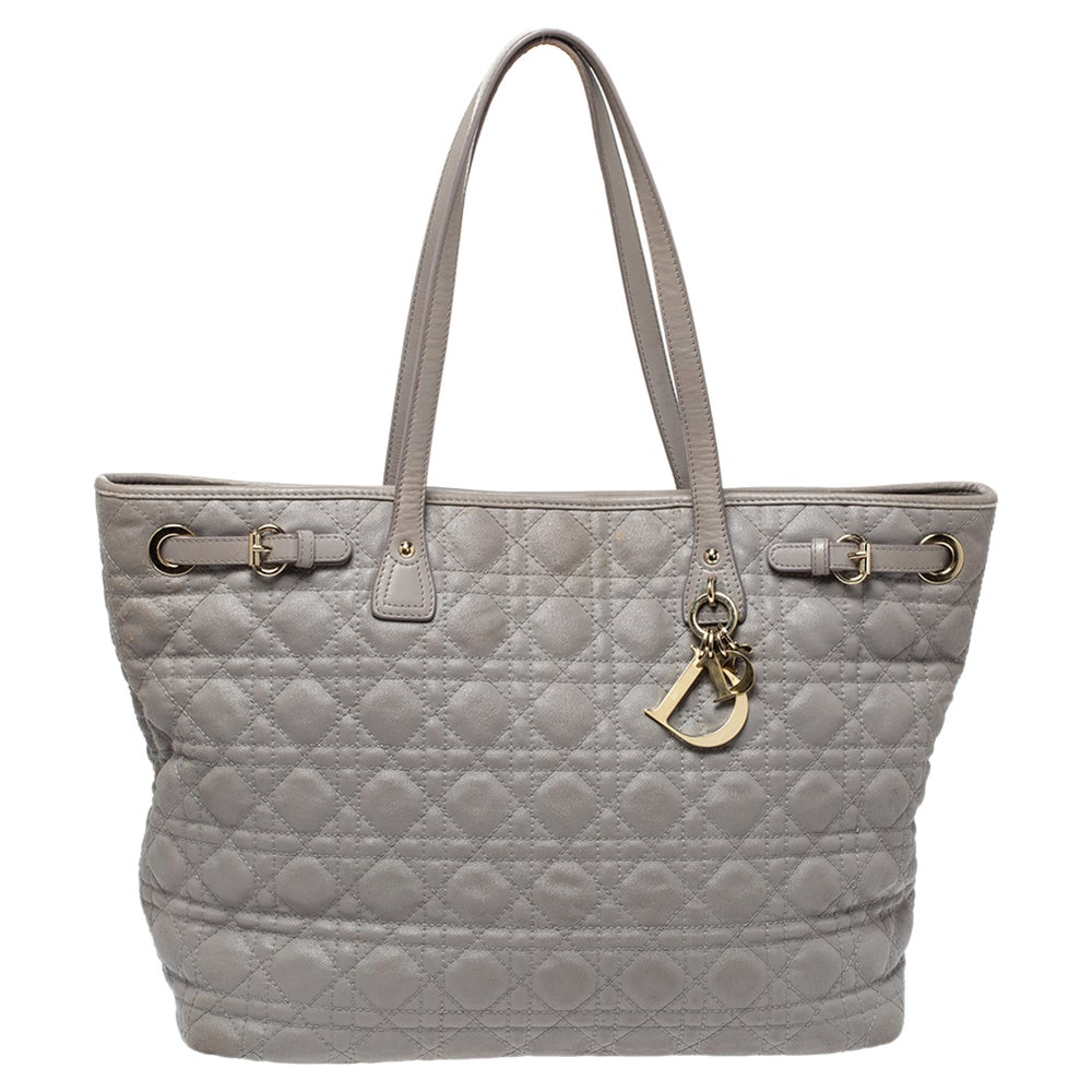 Dior Grey Cannage Coated Canvas and Leather Medium Panarea Tote