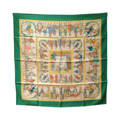 Authentic Hermes Costumes Civils Actuels Silk Scarf In Green