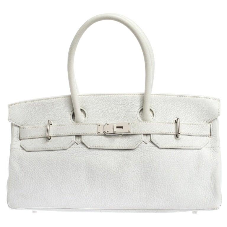 Hermes White Clemence Leather Palladium Hardware Shoulder Birkin 42 Bag