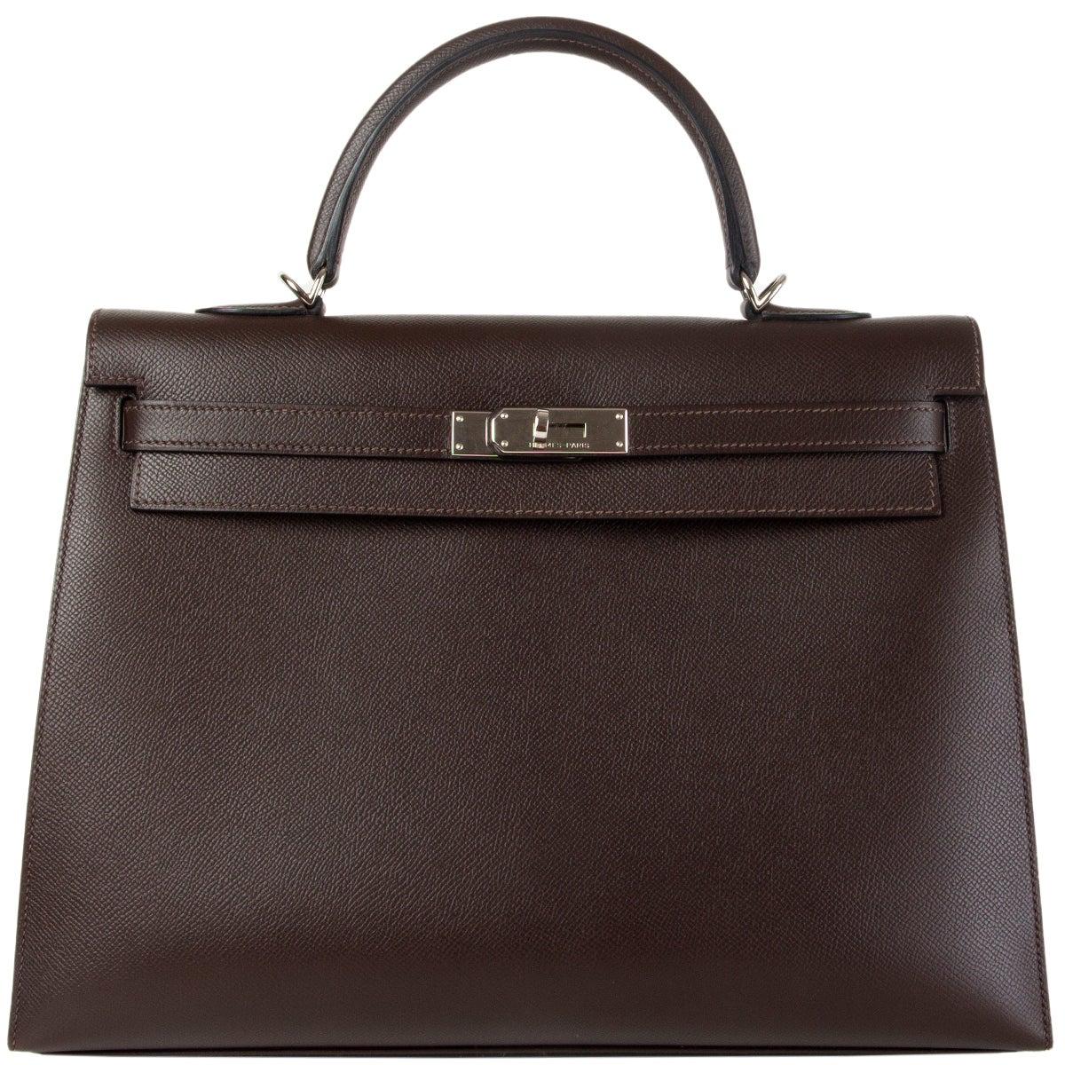 HERMES Chocolat brown Epsom leather & Palladium KELLY 35 Sellier Bag