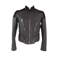 GUCCI 38 Black Nylon Suede Detail Motorcycle Zip Jacket