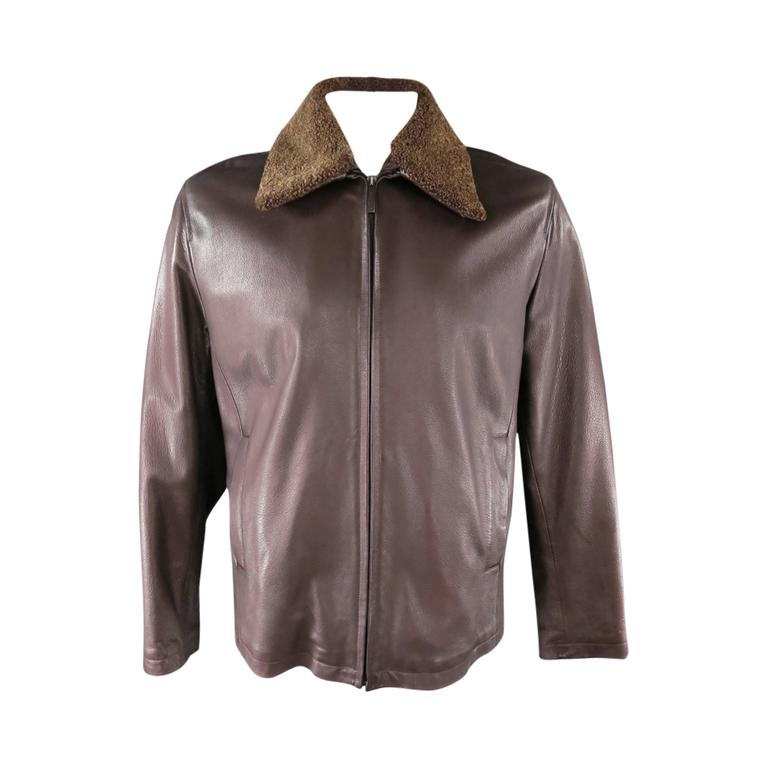 9beef694 Z ZEGNA 42 Brown Leather Jacket With Detachable Collar
