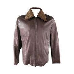 Z ZEGNA 42 Brown Leather Jacket With Detachable Collar