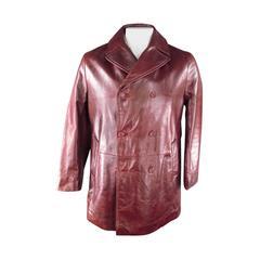 DOLCE & GABBANA Men's 38 Burgundy Leather Double Breasted Pea Coat Jacket