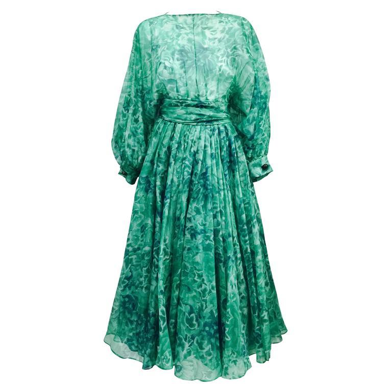 Custom Nina Ricci Paris Green Floral All Silk Day Dress  For Sale