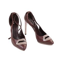 YVES SAINT LAURENT Brown Leather PUMPS Heels LIPS SHOES Tom Ford Era SZ 39